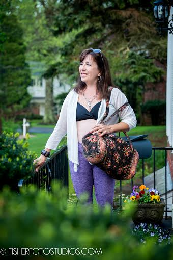 Our editor, Deborah, working her Balini yoga pants!