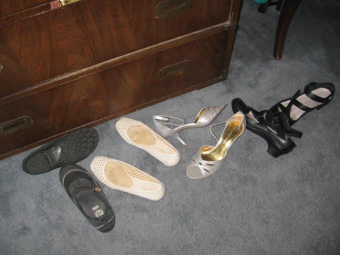 Well broken-in walking shoes/workout shoes; flats to go with anything; statement heels; every occasion fashion sandals. Add flip flops, and ready to go!