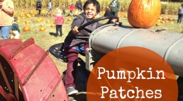 Branden smiling for the camera on a tractor  prop in the midst of the pumpkin patch!